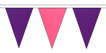 PURPLE AND PINK TRIANGULAR BUNTING - 10m / 20m / 50m LENGTHS